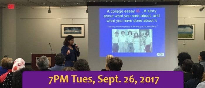 Debbie Merion gives a talk about college application essays.