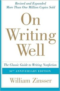 On Writing Well, by William Zinsser. Book cover.