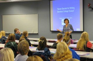 Debbie Merion teaching college essay class