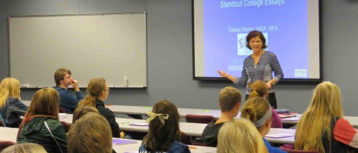 Debbie Merion teaching college essay class